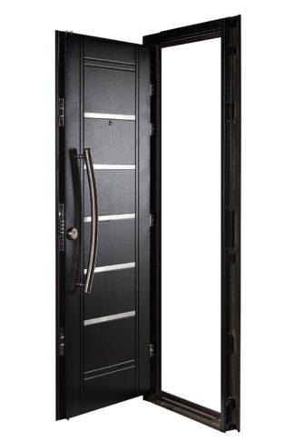 Puerta Multianclaje Derecha NEGRA Barral CURVO 75 cm y Apliques N4510D