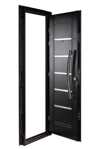 Puerta Multianclaje Izquierda NEGRA Barral CURVO 75 cm y Apliques N4510I