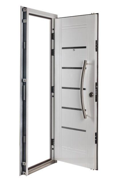 Puerta Multianclaje Izquierda BLANCA Barral CURVO 75 cm y Apliques B4510I