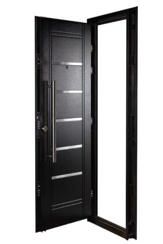 Puerta Multianclaje Derecha NEGRA Barral REDONDO 75 cm y Apliques N4410D