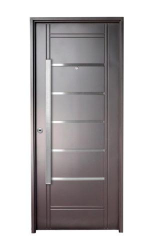 Puerta Iny NEGRA Derecha Insertos de ACERO barral RECTANGULAR 120 cm Ciega N2810D