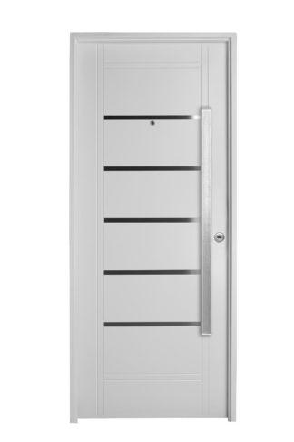 Puerta Iny BLANCA Izquierda Insertos de ACERO barral RECTANGULAR 120 cm Ciega B2810I