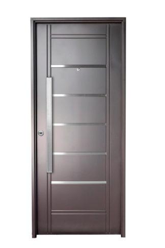 Puerta Iny NEGRA Derecha Insertos de ACERO barral RECTANGULAR 75 cm Ciega N2610D