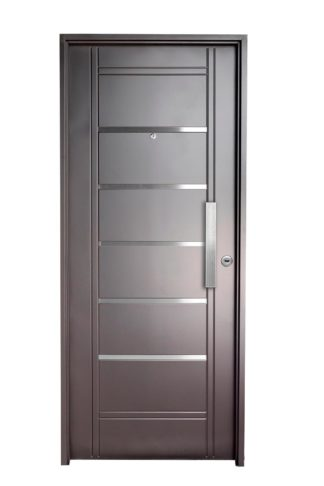 Puerta Iny NEGRA Izquierda Insertos de ACERO barral RECTANGULAR 40 cm Ciega N2910I
