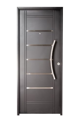 Puerta Iny NEGRO Izquierda Insertos de ACERO barral CURVO Ciega N2510I
