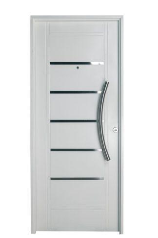 Puerta Iny BLANCA Izquierda Insertos de ACERO barral CURVO Ciega B2510I