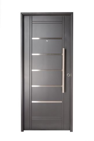 Puerta Iny NEGRA Izquierda Insertos de ACERO barral REDONDO 75 cm Ciega N2410I