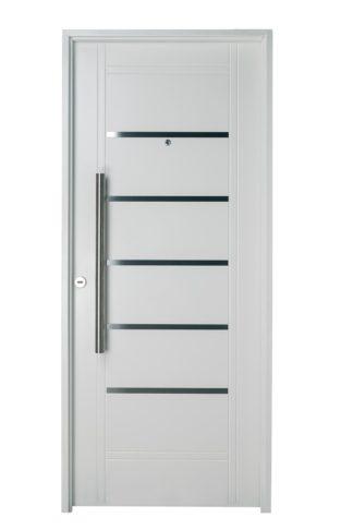 Puerta Iny BLANCA Derecha Insertos de ACERO barral REDONDO 75 cm Ciega B2410D