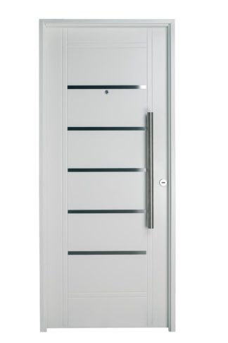 Puerta Iny BLANCA Izquierda Insertos de ACERO barral REDONDO 75 cm Ciega B2410I