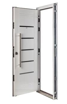 Puerta Multianclaje BLANCA Barral 75 cm. Apliques Acero Inoxidable DER B-4411