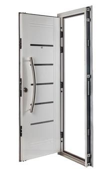 Puerta Multianclaje BLANCA Barral curvo 75 cm. Apliques Acero Inoxidable DER B-4511