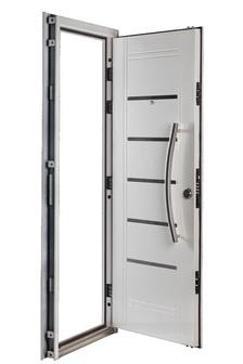 Puerta Multianclaje BLANCA Barral curvo 75 cm. Apliques Acero Inoxidable IZQ B-4512