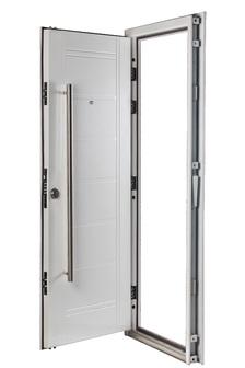 Puerta Multianclaje BLANCA Barral 120 cm. Apliques Acero Inoxidable DER B-4811