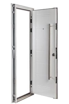 Puerta Multianclaje BLANCA Barral 120 cm. Apliques Acero Inoxidable IZQ B-4812