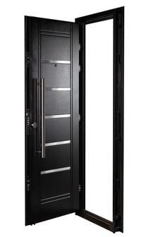 Puerta Multianclaje NEGRA Barral 75 cm. Apliques Acero Inoxidable DER N-4411
