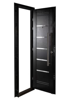 Puerta Multianclaje NEGRA Barral 75 cm. Apliques Acero Inoxidable IZQ N-4412