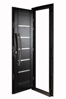 Puerta Multianclaje NEGRA Barral curvo 75 cm. Apliques Acero Inoxidable DER N-4511