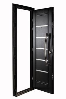Puerta Multianclaje NEGRA Barral curvo 75 cm. Apliques Acero Inoxidable IZQ N-4512