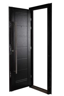 Puerta Multianclaje NEGRA Barral 120 cm. Apliques Acero Inoxidable DER N-4811