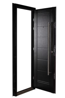 Puerta Multianclaje NEGRA Barral 120 cm. Apliques Acero Inoxidable IZQ N-4812